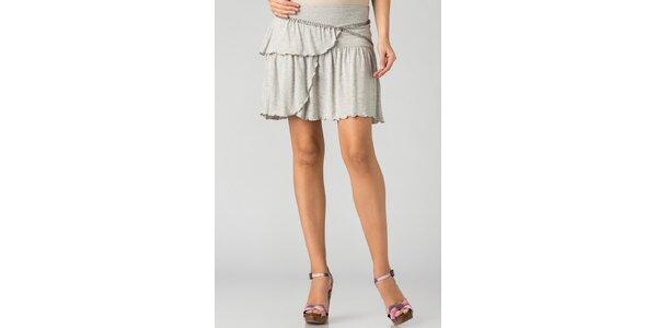 Dámská světle šedá melírovaná mini sukně By Zoé s volány