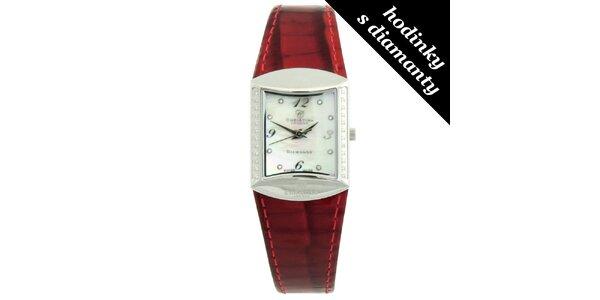 Dámské hranaté hodinky s diamanty a červeným páskem Christina London