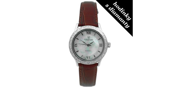 Dámské hodinky s diamanty a hnědým páskem Christina London