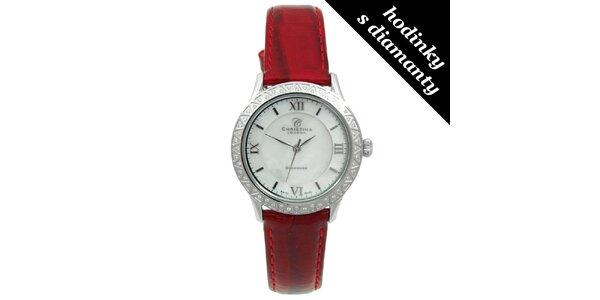 Dámské hodinky s diamanty a červeným páskem Christina London