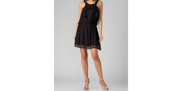 Hedvábné dámské černé šaty By Zoé s kamínky