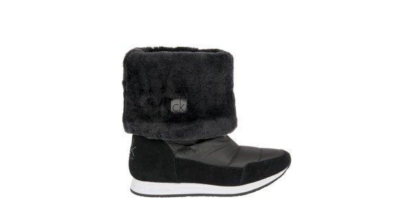 Dámské černé sněhule s kožíškem Calvin Klein