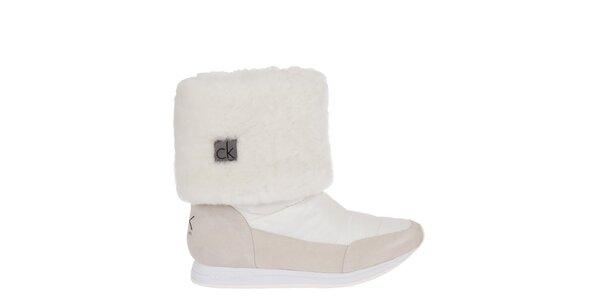 Dámské krémové sněhule s kožíškem Calvin Klein