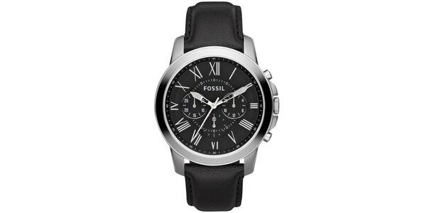 Pánské ocelové hodinky Fossil s černým koženým řemínkem