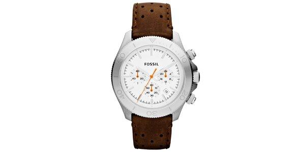 Pánské analogové hodinky s koženým řemínkem Fossil ef846629b3