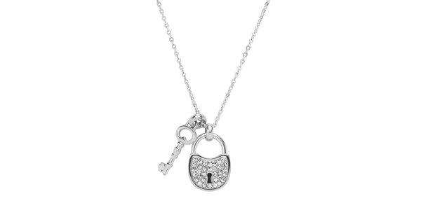 Dámský náhrdelník se zámečkem a klíčem Fossil