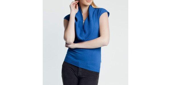 Dámský modrý svetřík s krátkým rukávem Nero su Bianco
