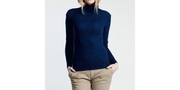 Dámský modrý svetr s rolákem Nero su Bianco