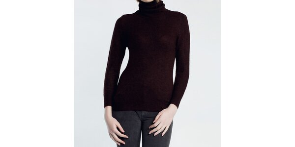 Dámský hnědý svetr s rolákem Nero su Bianco