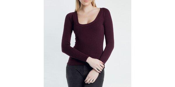 Dámský vínový svetr s kulatým výstřihem Nero su Bianco