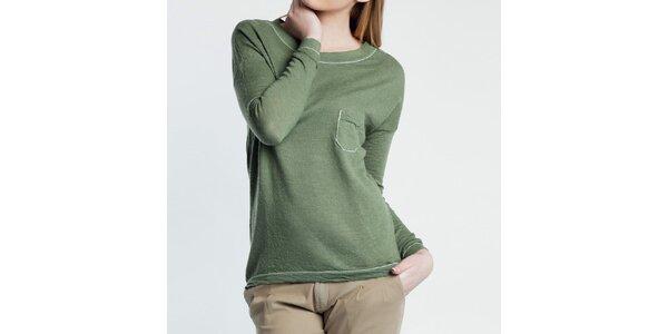 Dámský tenký zelený svetřík s kapsou Nero su Bianco