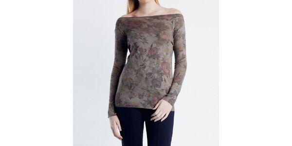 Dámský svetřík s květinovým vzorem Nero su Bianco