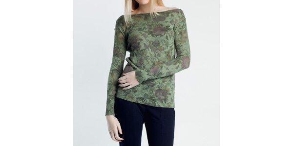 Dámský zelený svetřík s květinovým vzorem Nero su Bianco