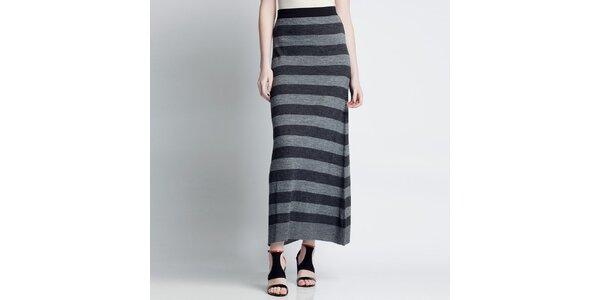 Dámská pruhovaná dlouhá sukně v šedých odstínech Nero su Bianco