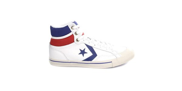 Bílo-červeno-modré kotníčkové tenisky Converse