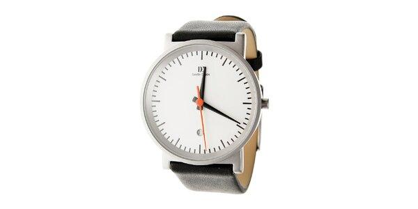 Pánské hodinky Danish Design s černým koženým řemínkem