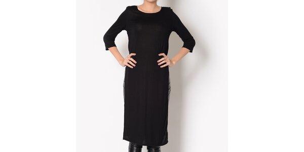 Dámské černé bavlněné šaty s rozparkem Santa Barbara