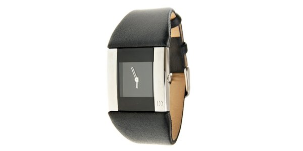 Dámské černo-stříbrné hodinky Danish Design s černým koženým řemínkem