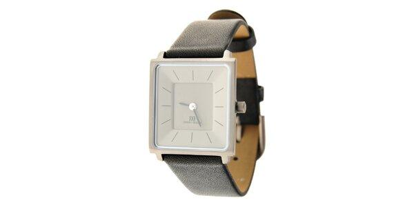 Dámské titanové hodinky Danish Design s černým koženým řemínkem
