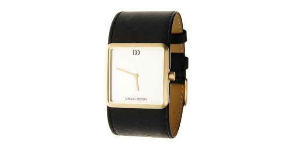 Dámské ocelové hodinky Danish Design s černým koženým páskem