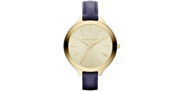 Dámské minimalistické hodinky s tmavomodrým páskem Michael Kors