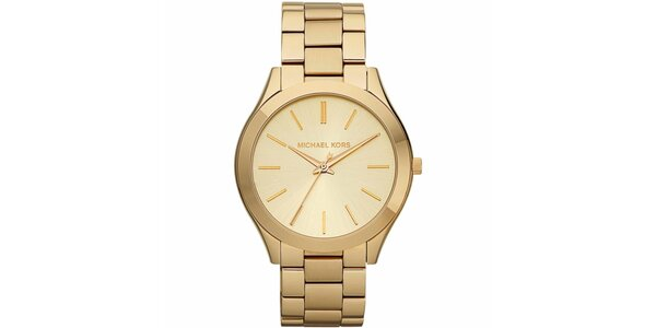 Dámské pozlacené hodinky s kulatým pouzdrem Michael Kors