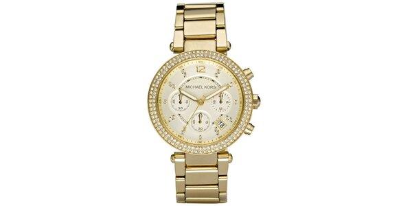 Dámské ocelové hodinky se zdobenou lunetou Michael Kors - zlatá barva