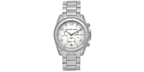 Dámské hodinky z ušlechtilé oceli se zirkony na lunetě Michael Kors