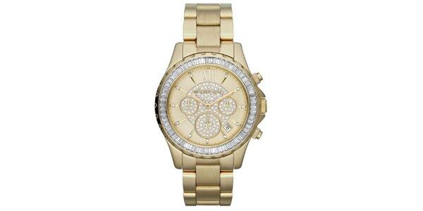 Dámské pozlacené hodinky se zirkony Michael Kors