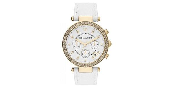Dámské hodinky s bílým koženým páskem Michael Kors