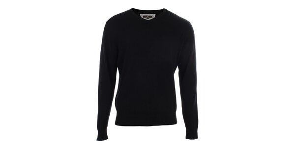 Pánský černý svetr s véčkovým výstřihem Loram