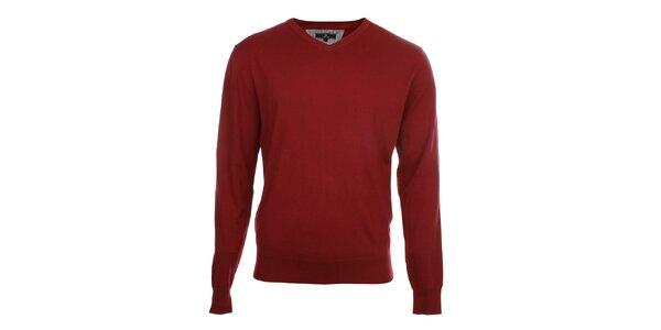 Pánský červený svetr s véčkovým výstřihem Loram
