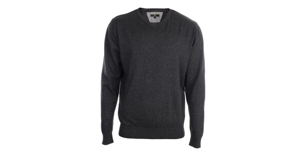 Pánský antracitový svetr s véčkovým výstřihem Loram