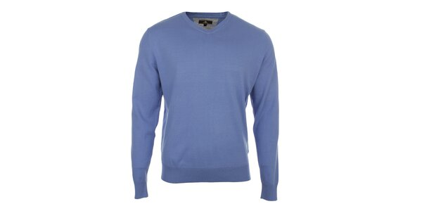 Pánský modrý svetr s véčkovým výstřihem Loram
