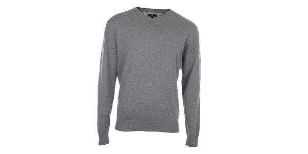 Pánský šedý svetr s véčkovým výstřihem Loram