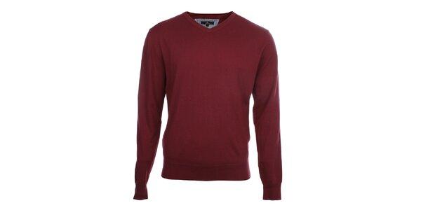 Pánský vínový svetr s véčkovým výstřihem Loram