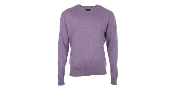 Pánský fialový svetr s véčkovým výstřihem Loram