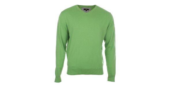 Pánský zelený svetr s véčkovým výstřihem Loram