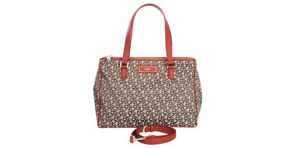 Dámská kabelka s nápisy a červenými detaily DKNY