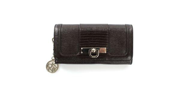 Dámská kaštanově hnědá peněženka z kůže DKNY
