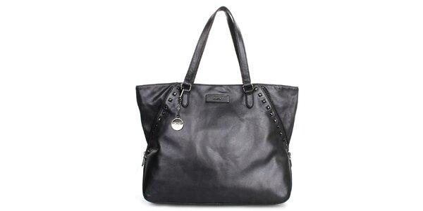 Dámská kabelka s cvočky v metalickém černém provedení DKNY