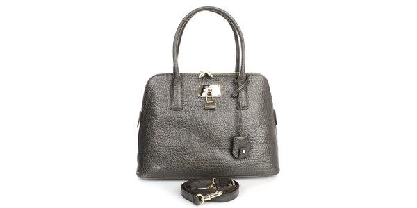 Dámská kožená kabelka v tmavě šedém odstínu DKNY