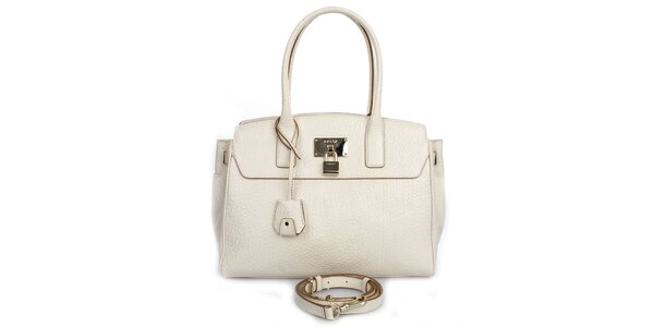Dámská krémová kožená kabelka se zlatým zámečkem DKNY