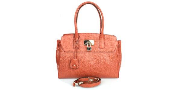 Dámská oranžová kabelka s hrubým povrchem DKNY