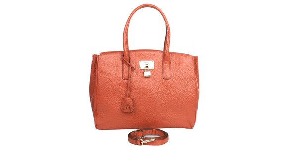 Dámská oranžová kabelka s hrubou strukturou DKNY