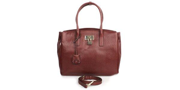Dámská prostorná kožená kabelka ve vínovém odstínu DKNY