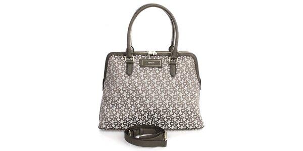 Dámská kabelka s nápisy v khaki odstínu DKNY