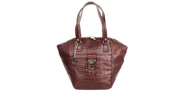 Dámská vínová vzorovaná kabelka s kapsou DKNY