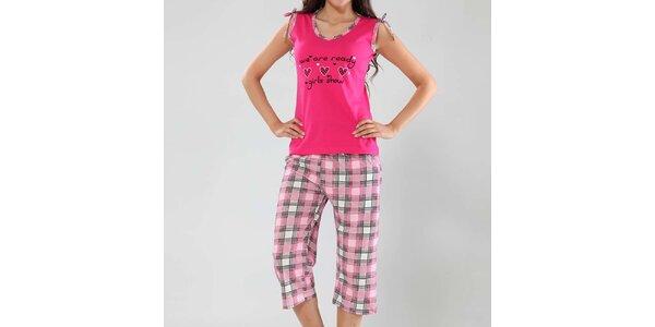 Dámské pyžamo Fagon - fuchsiové tílko a kostkované kalhoty