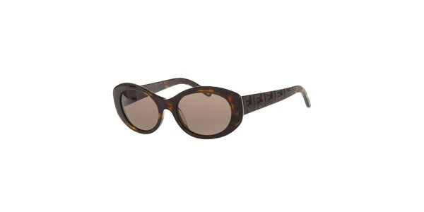 Dámské tmavě hnědé želvovinové sluneční brýle Fendi